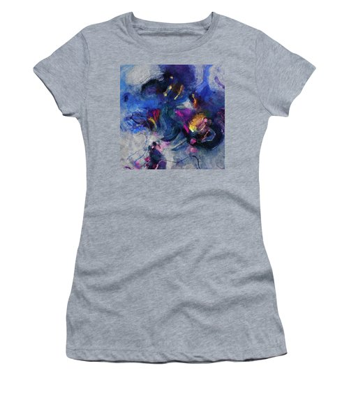 Women's T-Shirt (Junior Cut) featuring the painting Blue And Yellow Minimalist / Abstract Painting by Ayse Deniz
