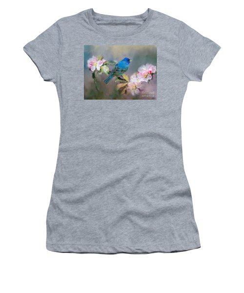 Blue Beauty In The Flowers Women's T-Shirt (Athletic Fit)