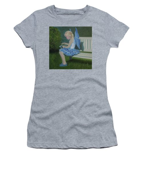 Blue Butterfly Girl Women's T-Shirt (Athletic Fit)