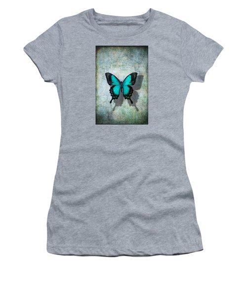 Blue Butterfly Resting Women's T-Shirt