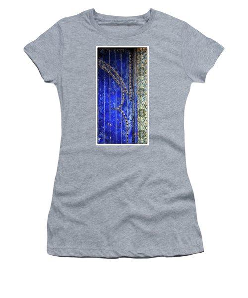 Women's T-Shirt (Junior Cut) featuring the photograph Blue Door In Marrakech by Marion McCristall