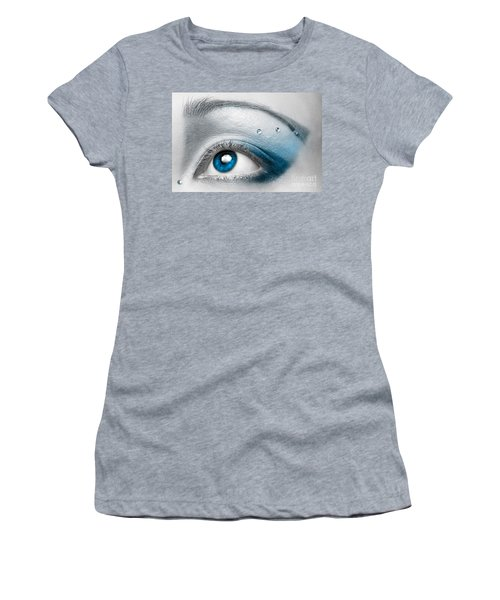 Blue Female Eye Macro With Artistic Make-up Women's T-Shirt (Athletic Fit)