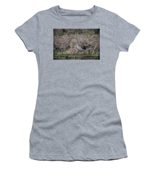Women's T-Shirt (Junior Cut) featuring the photograph Blue Heron Stalking Dinner by David Bearden