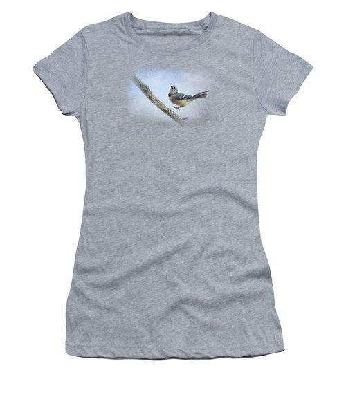 Blue Jay In The Snow Women's T-Shirt (Junior Cut) by Jai Johnson