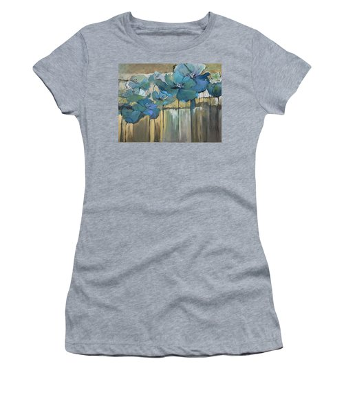 Women's T-Shirt (Junior Cut) featuring the painting Blue Poppies by Eleatta Diver
