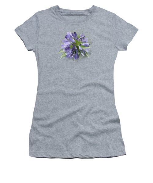 Women's T-Shirt featuring the painting Blue Purple Flowers by Ivana Westin