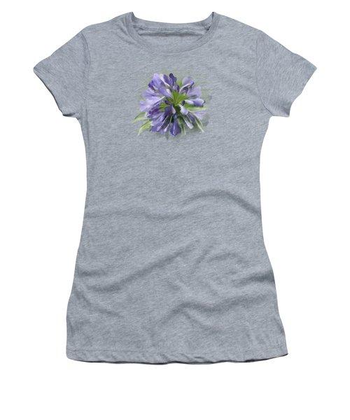 Blue Purple Flowers Women's T-Shirt (Athletic Fit)