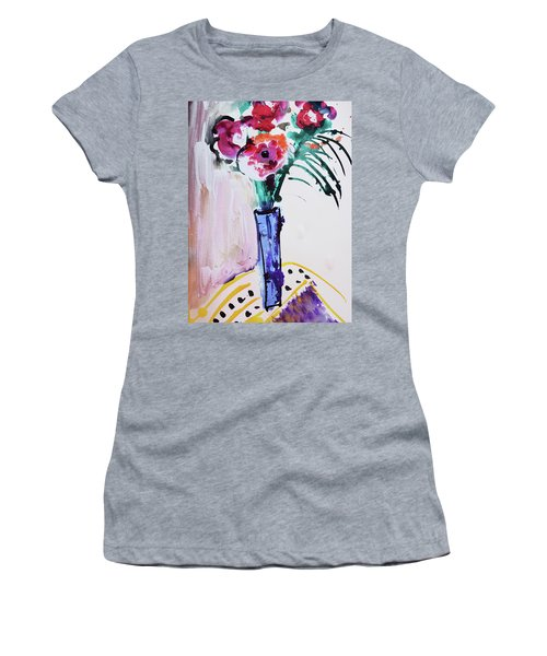 Blue Vase With Red Wild Flowers Women's T-Shirt (Junior Cut) by Amara Dacer