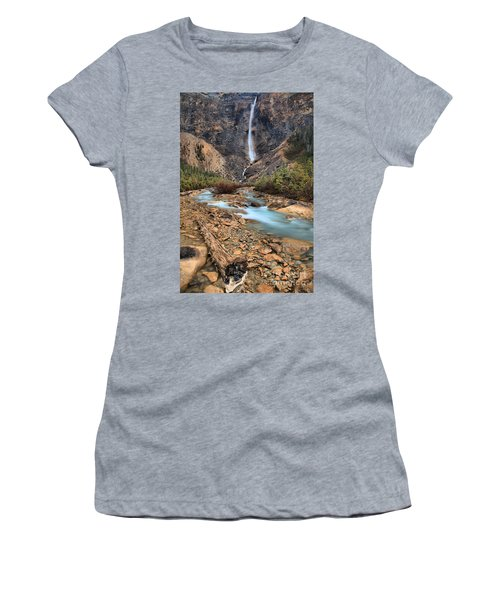 Women's T-Shirt (Junior Cut) featuring the photograph Blueberry Blue Waters Under Takakkaw Falls by Adam Jewell