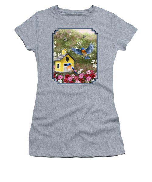 Bluebirds And Yellow Birdhouse Women's T-Shirt (Athletic Fit)
