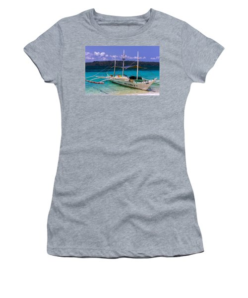 Boat On Puka Beach, Boracay Island, Philippines Women's T-Shirt (Athletic Fit)