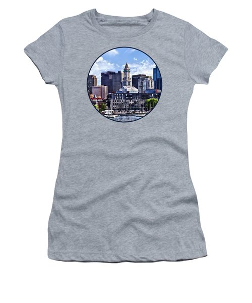 Boston Ma - Skyline With Custom House Tower Women's T-Shirt