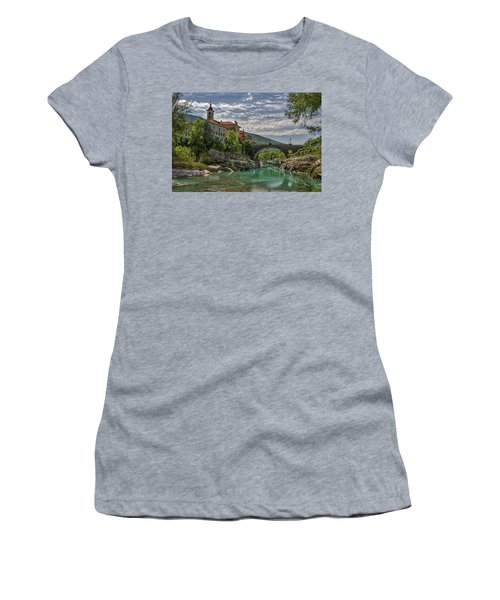 Women's T-Shirt (Athletic Fit) featuring the photograph Bridge Over The Soca - Kanal Slovenia by Stuart Litoff