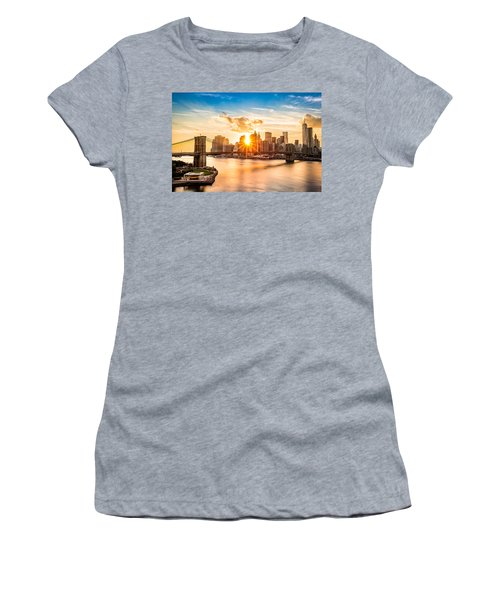 Brooklyn Bridge And The Lower Manhattan Skyline At Sunset Women's T-Shirt (Athletic Fit)