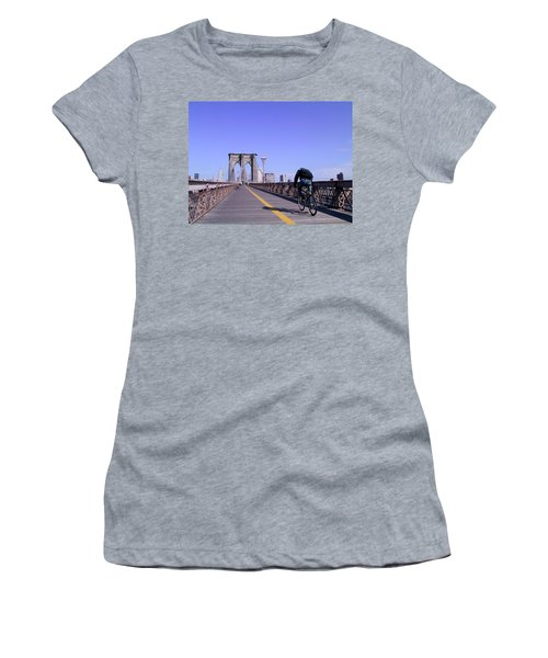 Brooklyn Bridge Bicyclist Women's T-Shirt (Athletic Fit)