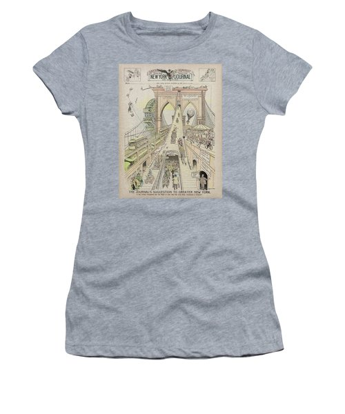 Women's T-Shirt (Junior Cut) featuring the photograph Brooklyn Bridge Trolley Right Of Way Controversy 1897 by Daniel Hagerman