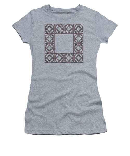 Women's T-Shirt (Junior Cut) featuring the digital art Brown Circles And Squares by Chuck Staley