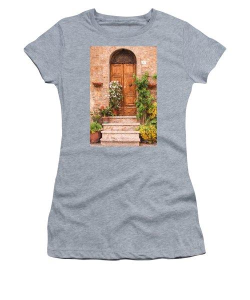 Brown Door Of Tuscany Women's T-Shirt