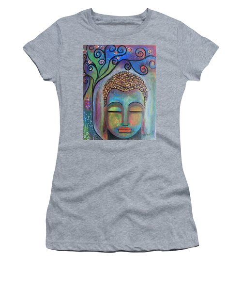 Women's T-Shirt (Athletic Fit) featuring the painting Buddha With Tree Of Life by Prerna Poojara