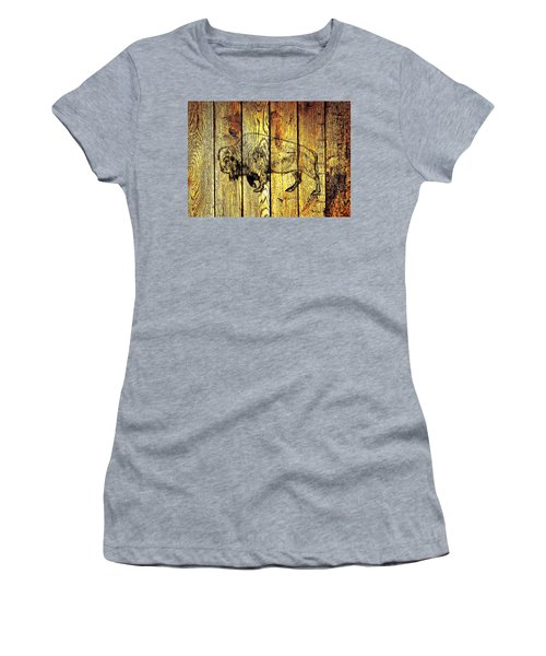 Women's T-Shirt (Athletic Fit) featuring the photograph Buffalo On Barn Wood by Larry Campbell