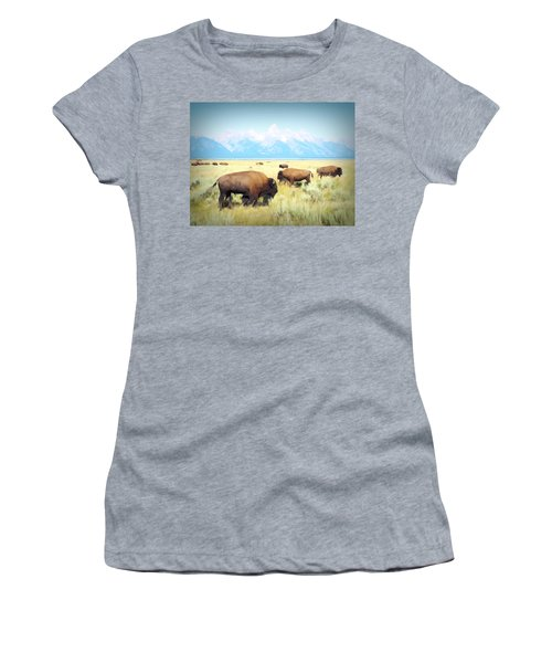 Buffalo Roam, Smokey Grand Tetons, Wyoming Women's T-Shirt
