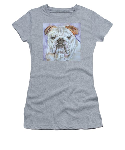 Women's T-Shirt (Junior Cut) featuring the painting Bulldog - Watercolor Portrait.5 by Fabrizio Cassetta