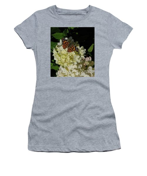 Butterfly On Hydrangea Women's T-Shirt (Athletic Fit)