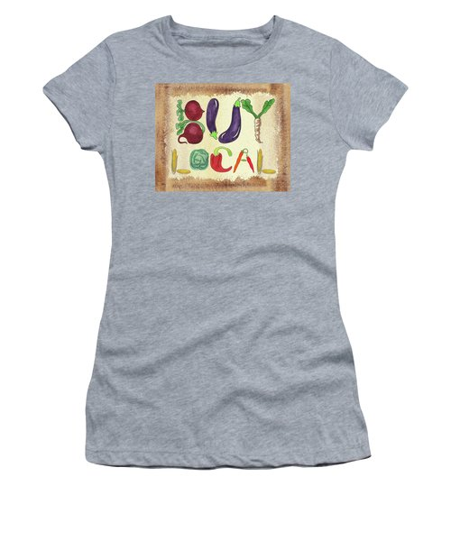 Women's T-Shirt (Athletic Fit) featuring the painting Buy Local Farmers Market by Irina Sztukowski