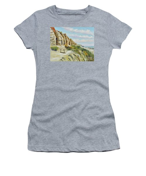 Women's T-Shirt featuring the painting Calafia Beach Trail by Mary Scott