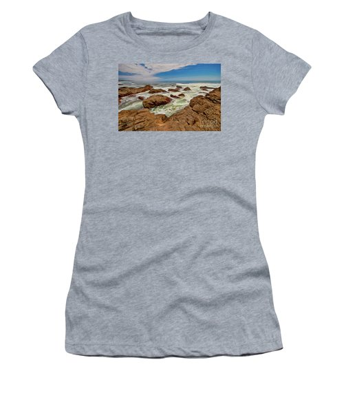California Coast Waves On Rocks Ap Women's T-Shirt (Junior Cut)