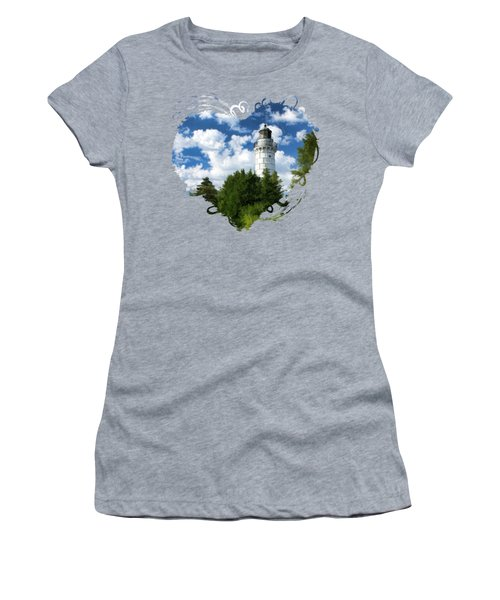 Cana Island Lighthouse Cloudscape In Door County Women's T-Shirt