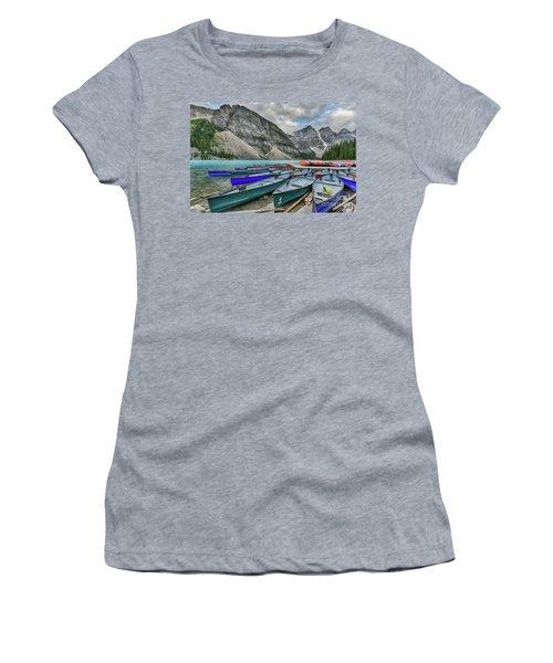 Canoes On Moraine Lake  Women's T-Shirt