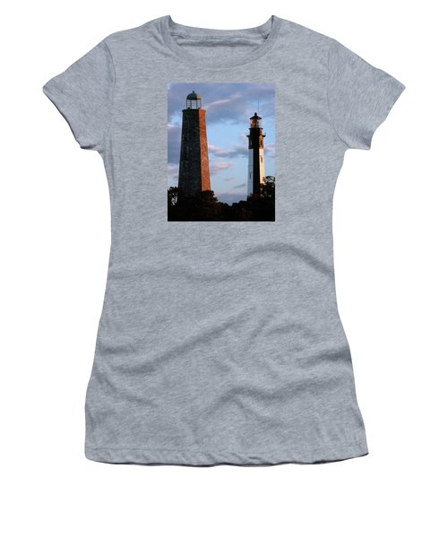 Cape Henry Lighthouses In Virginia Women's T-Shirt (Junior Cut) by Skip Willits