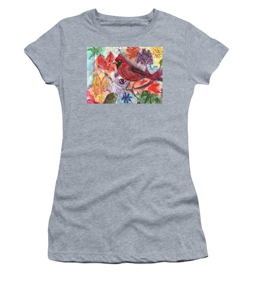 Cardinal In Flowers Women's T-Shirt (Athletic Fit)