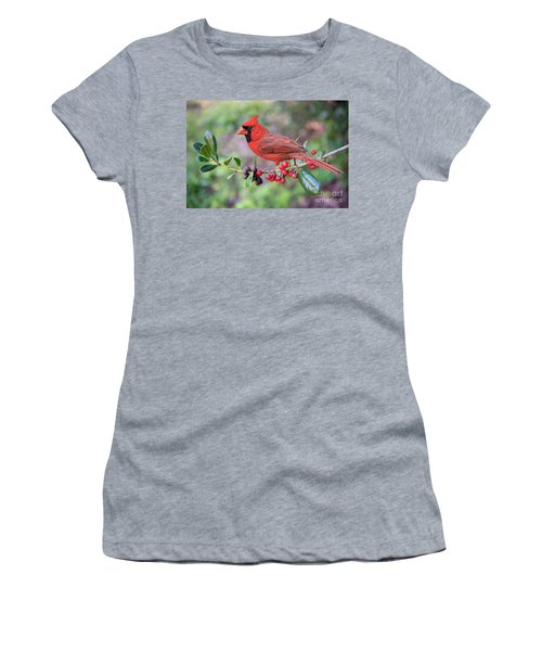 Women's T-Shirt (Junior Cut) featuring the photograph Cardinal On Holly Branch by Bonnie Barry