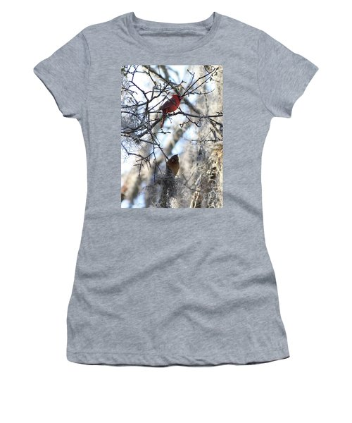 Cardinals In Mossy Tree Women's T-Shirt (Athletic Fit)
