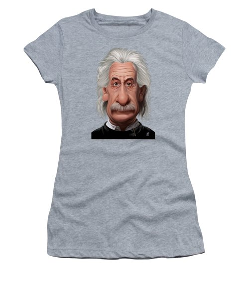 Women's T-Shirt (Junior Cut) featuring the drawing Celebrity Sunday - Albert Einstein by Rob Snow