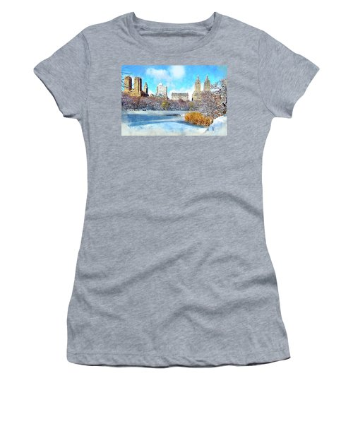 Central Park In Winter Women's T-Shirt (Junior Cut) by Kai Saarto