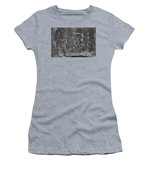 Women's T-Shirt (Junior Cut) featuring the photograph Chaco Canyon Petroglyphs Black And White by Adam Jewell