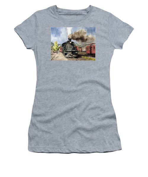 Women's T-Shirt featuring the painting Chama Arrival by Sam Sidders