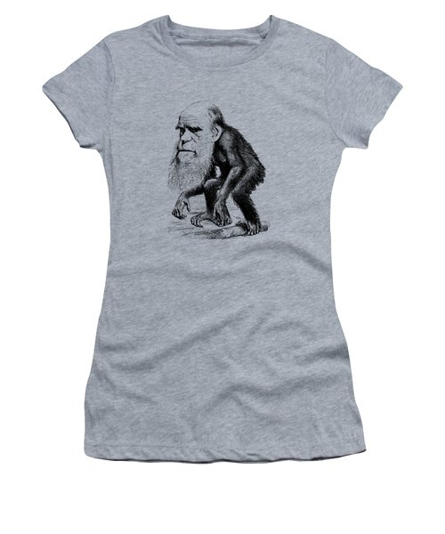 Charles Darwin As An Ape Cartoon Women's T-Shirt (Athletic Fit)