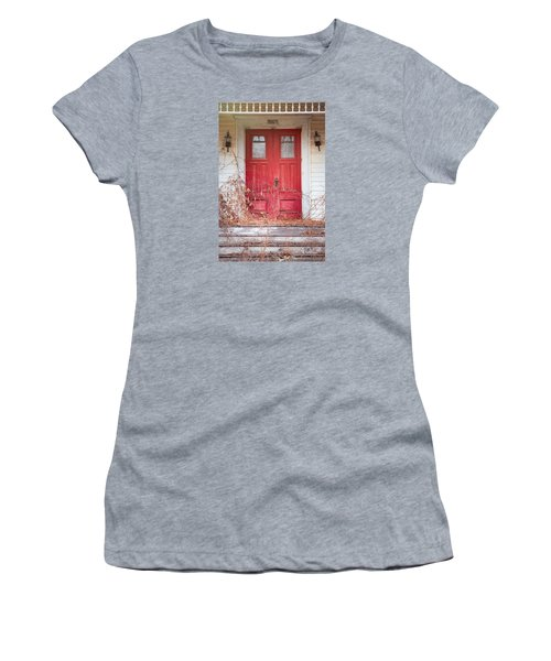 Women's T-Shirt (Junior Cut) featuring the photograph Charming Old Red Doors Portrait by Gary Heller