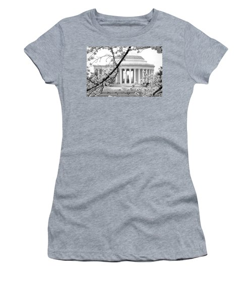 Cherry Tree And Jefferson Memorial Elegance  Women's T-Shirt (Athletic Fit)