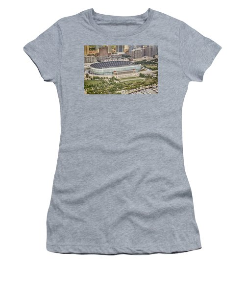 Chicago's Soldier Field Aerial Women's T-Shirt (Junior Cut) by Adam Romanowicz