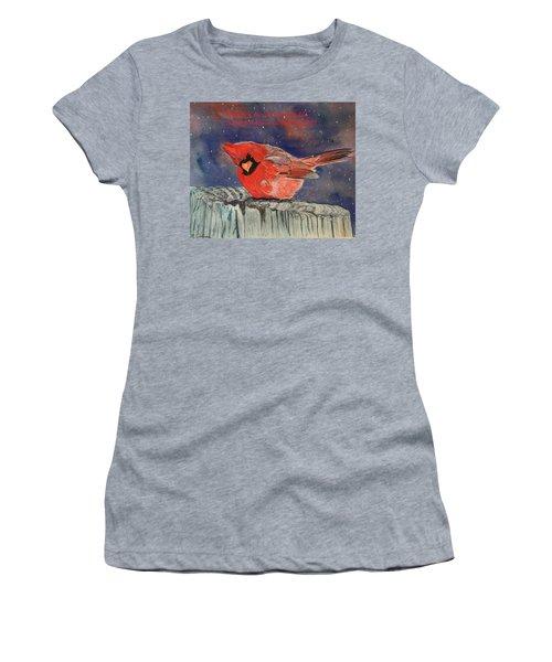 Chilly Bird Christmas Card Women's T-Shirt
