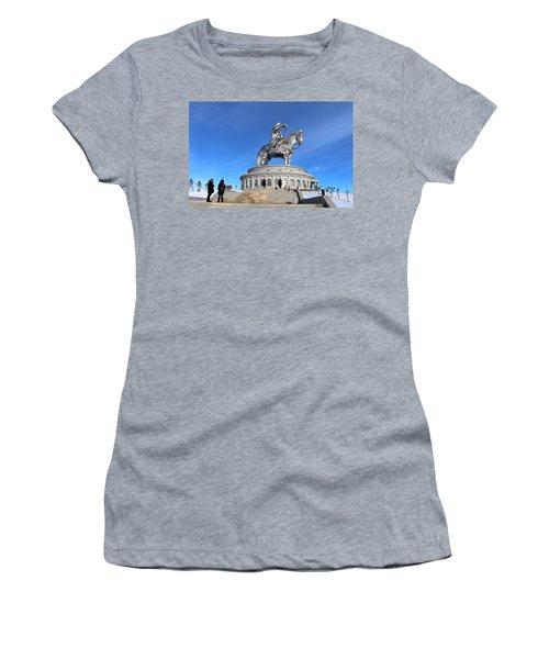 Chinggis Khan Statue/tsagaan Sar Women's T-Shirt (Junior Cut) by Diane Height