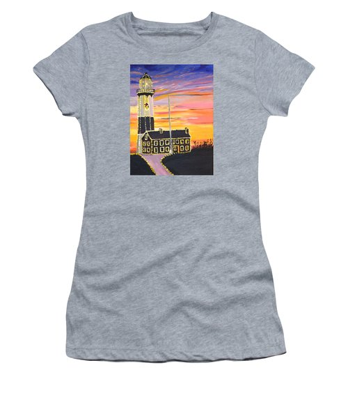 Women's T-Shirt (Junior Cut) featuring the painting Christmas At The Lighthouse by Donna Blossom