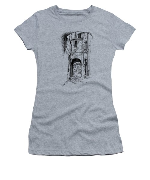 Citta Di Castello Dip Pen Sketch Women's T-Shirt (Athletic Fit)