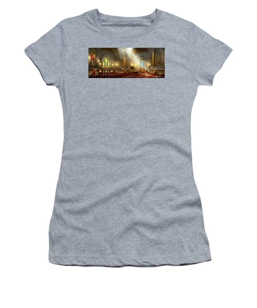 Women's T-Shirt (Athletic Fit) featuring the photograph City - Naval Academy - The Chapel by Mike Savad