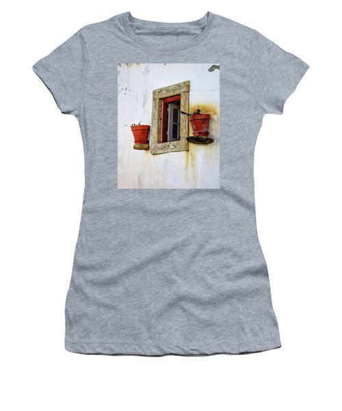 Women's T-Shirt (Junior Cut) featuring the photograph Clay Pots In A Portuguese Village by Marion McCristall